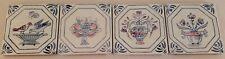 "Vintage Lot Of 4 Decorative Spanish Ceramic Tiles 4.25"" X 4.25"" Hand Painted"