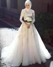 2018 Arabic Wedding Dress Lace Muslim With Hijab Bridal Gown Size 2 4 6 8 10 12+