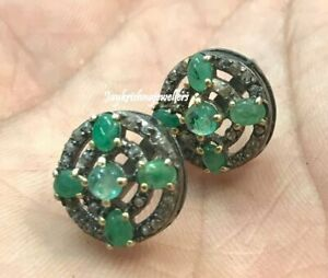 925 Sterling Silver Radiant Pave Diamond Earring Green Emerald Gems Earring