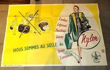 Grande affiche publicitaire vintage très déco pour Valise en Nylon an'1950-60