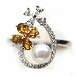 NATURAL 6 mm. WHITE PEARL, CITRINE & CZ 925 STERLING SILVER RING SZ 8