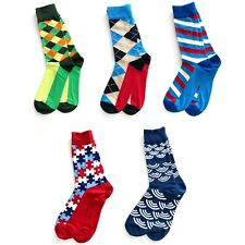 Men's Cotton Colourful Casual Socks Size 7-12 Funky Fun Knitted Free Shipping