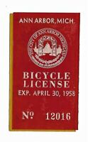 1958 Bicycle License from Ann Arbor Michigan - Vintage
