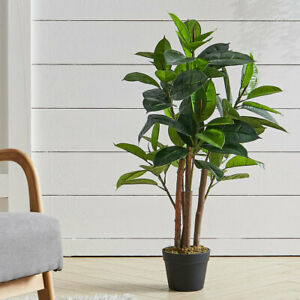 3FT Large Ficus Tree Artificial Rubber Tree Potted Fake Plant Home Office Decor