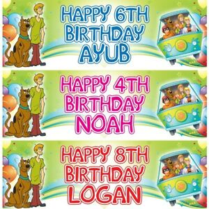 2 Personalised Scooby Doo Gang Birthday Party Celebration Decoration Posters