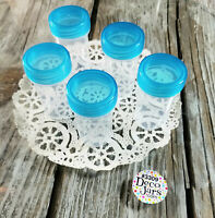 "20 Pill 2"" Bottles 3/4 oz Refill Plastic Jars Container Aqua Cap DecoJars #3309"
