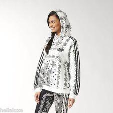 nwt~Adidas PAISLEY HOODIE Sweat Shirt AOP supergirl COTTON Hooded Top~Women sz L