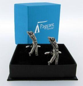 Golfer English Silver Pewter Cuff Links in Presentation Gift Box