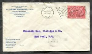 p1191- TORONTO 1897 Flag Cancel on Brown Bros Cover Jubilee Great Fire Destroyed