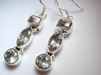 Faceted Green Amethyst 925 Sterling Silver Dangle Earrings Marquise Baguette