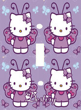 PERSONALIZED PURPLE BUTTERFLY HELLO KITTY LIGHT SWITCH PLATE COVER