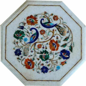 """Accent 16"""" Marble Table Top Peacock Design Pietra Dura Design Art Handcrafted"""