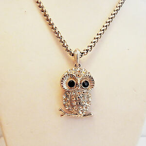 "Silver Owl Pendant with Black and Clear Crystals on 30"" chain"