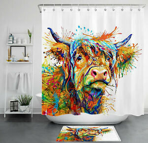 "Farm Animal Color Abstract Watercolor Cow Shower Curtain Set Bathroom Decor 72"""