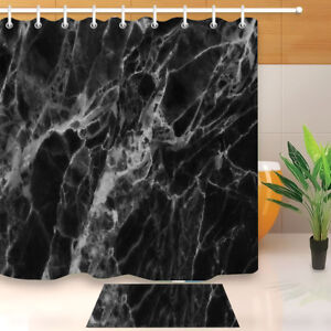 Abstract Black and White Marble Pattern Shower Curtain Set Waterproof Fabric 72""
