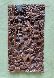 Antique India Sandalwood Temple Wood Panel