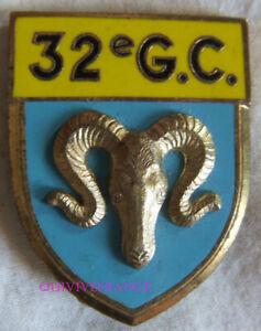 IN17918 - INSIGNE 32° Groupement de Camp, sigle G.C, fixation épingle bascule