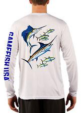 Men's UPF 50 Long Sleeve Microfiber Performance Fishing Shirt Marlin and Tuna