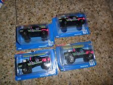 4 LOT Hot Wheels NISSAN HARDBODY 4x4 Pink Interior Truck BLUE Card #131 Pickup