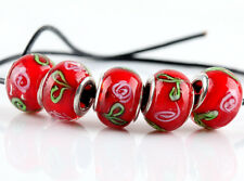 5pcs SILVER MURANO GLASS BEADS LAMPWORK Fit European Charm Bracelet Jewelry NEW
