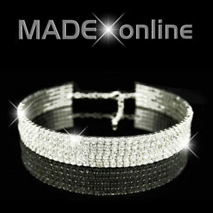 Stretchy Choker Necklace, Silver Plated Diamante Diamonte Bling