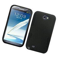For Samsung Galaxy Note II 2 MESH Hard Hybrid Silicone Rubber Skin Case Black