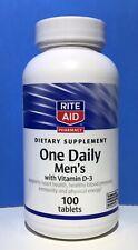 RiteAid - Men's One Daily + Vitamin D-3 - 100 Dietary Tablets - BB  04/2020