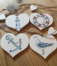 Nautical Garland/Bunting Shabby Chic Real Wood Hearts Rustic Twine Anchor