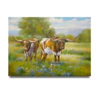 NY Art - Texas Longhorns on Bluebonnet Ranch 36x48 Oil Painting on Canvas - Sale