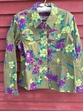 Oilily Women's Floral Cotton Jacket with Animal Buttons Size EU 40 US Size 10