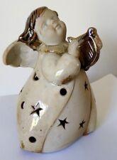 Angel Tealight Candle holder Ceramic Christmas Decoration holding harp