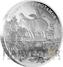 2015 SILVER ENDANGERED SPECIES PYGMY HIPPOPOTAMUS - 1 OZ. SILVER PROOF 5TH COIN