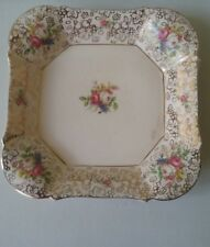 H & K Tunstall Floral & Gold Gilt Serving Dish - Made in England - Vintage - EXC