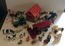 More details for wooden toy farm building, tractors, combineharvester, animals and people