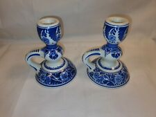 Royal Delft de Porceleyne Fles Handpainted & Signed Vintage Candle Stick Holders