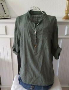 Hemd Fischerhemd Bluse Leinenoptik grün Gr ca 40.42. M L