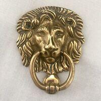 Vintage Solid Brass Door Knocker LION HEAD Reclaimed Built-In Striker