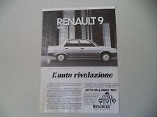 advertising Pubblicità 1982 RENAULT 9 1100