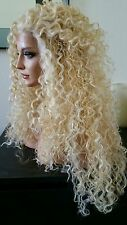 Soft Curly Pale Blonde Mix Synthetic Lace Front Wig Long Layers Heat Safe Ok