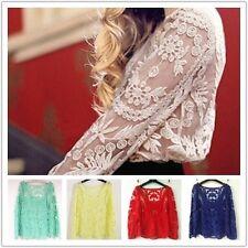 Fashion Women's Casual Lace Top Blouse Crochet Chiffon Shirt Autumn Spring Dress