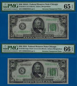 Finest Known -1934-A /1934 $50 FRN (( Reverse Changeover Pair )) PMG 66 & 65EPQ-