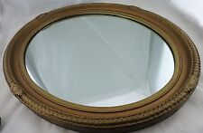 VINTAGE OVAL WALL MIRROR WOOD FRAME GOLD/BRONZE GILDED