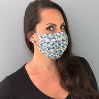 Forget Me Not Cotton Fabric Face Mask Cover, Nose Wire & Filter Pocket, USA Made