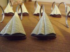 set of 12 Sailboat Shower Curtain Hooks nautical Ceramic & Metal