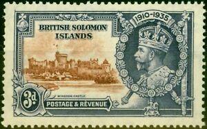 Solomon Islands 1935 3d Brown & Dp Blue SG54H Dot by Flagstaff Fine MNH
