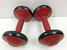 Pair (2) Vintage Biomate 7.5 Lb Dumbbells Home Workout Exercise Red/Black