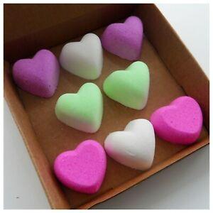 Bath Bomb Mini Bath Bombs Vegan Love Hearts Strawberry Scent Box of 8
