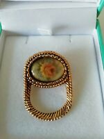VINTAGE Gold Tone Floral Brooch Pin & Scarf Loop Through Mid Century Rope Design