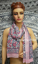 New Fabric Women Cotton Long Sarong Dupata Stole Scarf Indian Hand Block Print