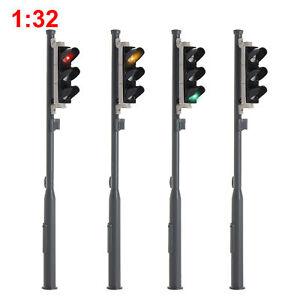 4pcs 1 Gauge Model Traffic Lights Red/Yellow/Green 1:32 Block Signal 3-LEDs